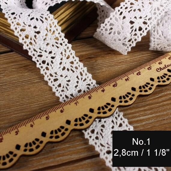 10m Vintage style 2cm Cotton crochet lace edge trim,white Ribbon Wedding Sewing