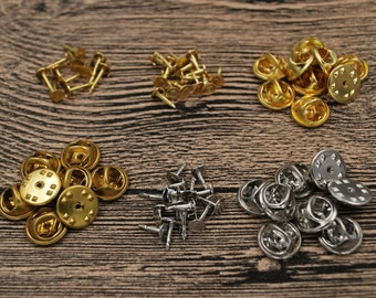 Set Nail Tie Tac Tack Lapel Pin Back Clutch Scatter Butterfly Clasp Squeeze Round Pinch Clip Badge Hat Bag Brooch Collar Vest Cap