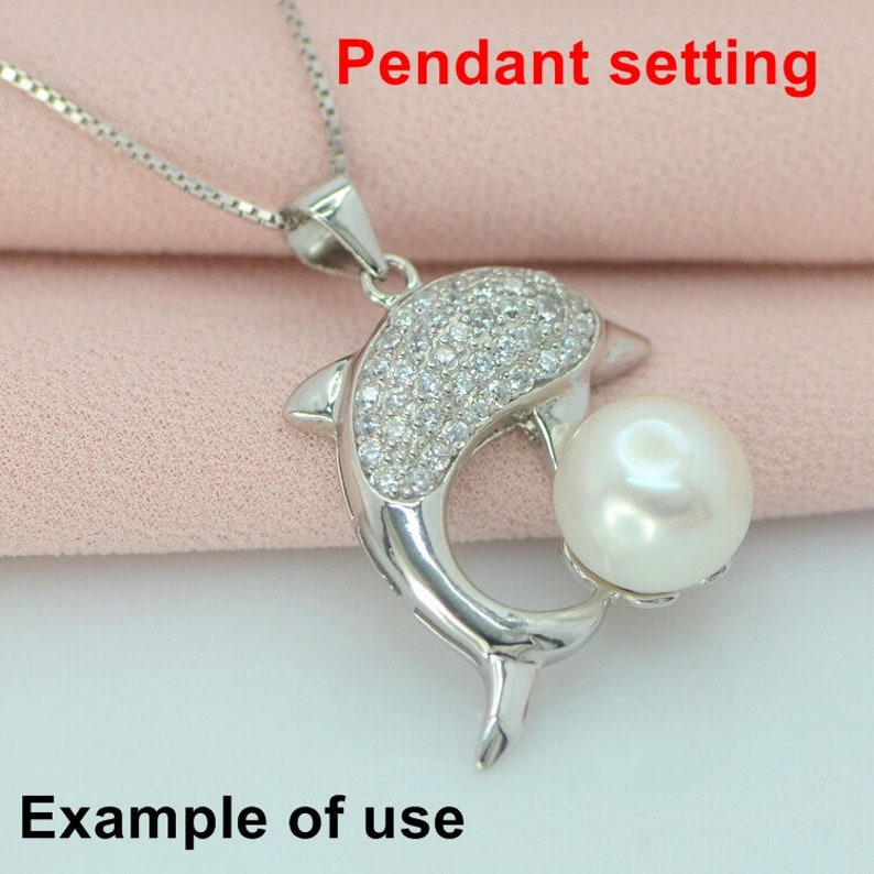 Sterling Silver Crystals Dolphin Shaped Dangle Cup Pendant Blank Setting Fine 925 9.5 mm For One Pearl Bead No Prongs DIY Jewelry Wholesale