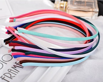 16 Mixed Color Satin Covered Headband Bands 5 mm DIY Craft Hair Accessory