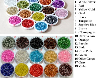 2/3/4mm 11/0 8/06/0 Silver Lined Seed Beads Clear Transparent Round Tiny Colorful Multi-Colored Loose Glass Beads DIY Jewelry Making Craft