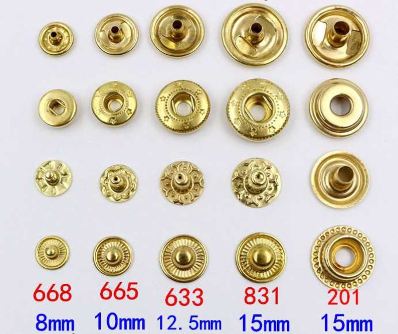 Solid Brass Round S Spring Snap Button 8 10 12 15 mm Rivet Segma Press Stud  Popper Tich Fastener Closure Leathercraft Bag Clothes Diary