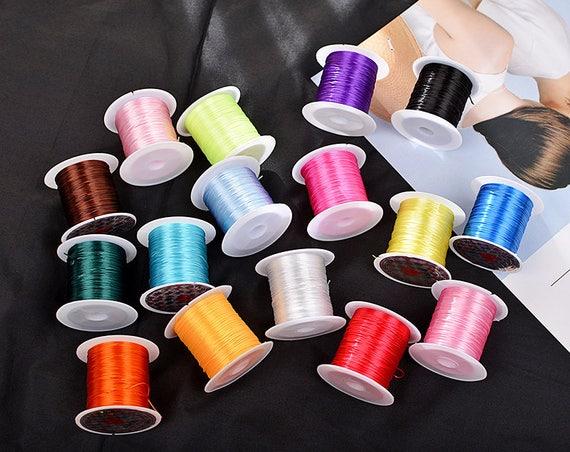 Stretch Elastic Beading Thin Cord Mala String Colored Nylon Coated Thread