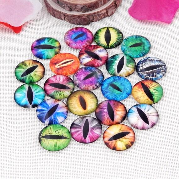 18 MM 4 Cabochons Cateye verre en violet Perles et confection de bijoux Cabochons