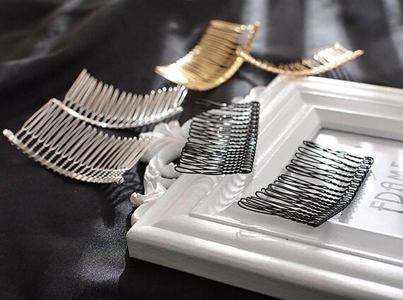 10 Metal 14 Teeth Hair Comb Clip Slide Hairpin DIY Hair Jewelry Making 7.5cm