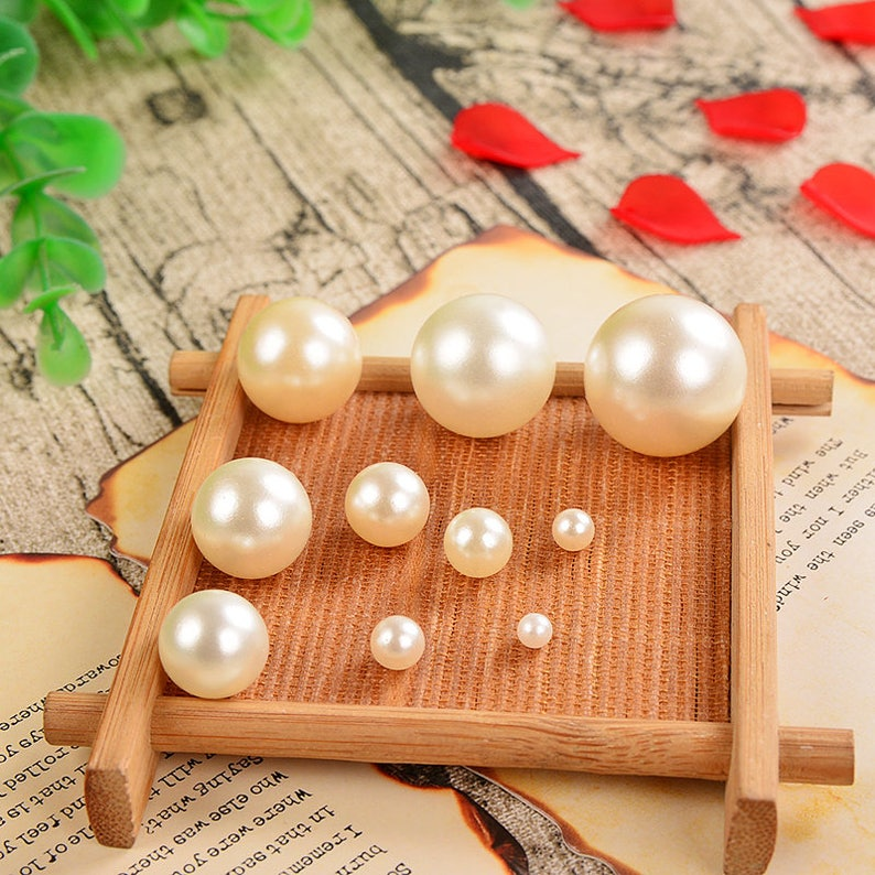 Acrylic Pearl Beads for Bracelets 3//4//5mm Round Gold Plastic Beading Supplies