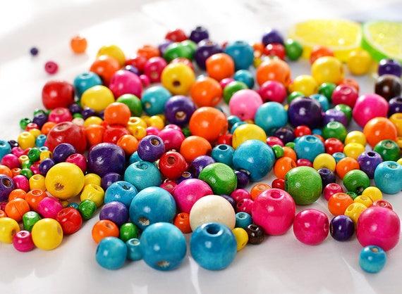 100pcs Holz Perlen 8mm Gemischte Farben Locker Halskette Armband Handgefertigt