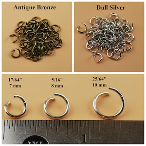 Round Open Jump Rings Thin Connector Link Attach Charm Clasp 4 5 6 7 8 10 mm OD 21 Gauge Wire Chainmail Chainmaille Weave Silver Gold Bulk
