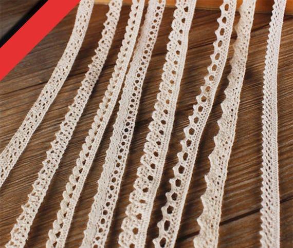 53 x 11   has  tiny satin bows at edge 7059 V intage Light  Ecrul Hand  Crochet Lace ruffle