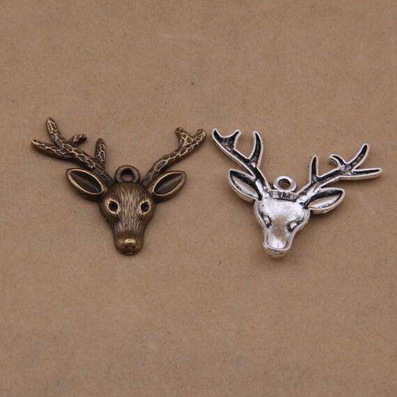 Elk Jewelry Making Supplies Small Sterling Silver Stag Head Charm Animal Metal Reindeer Wildlife Findings Polished Silver Antler Pendant
