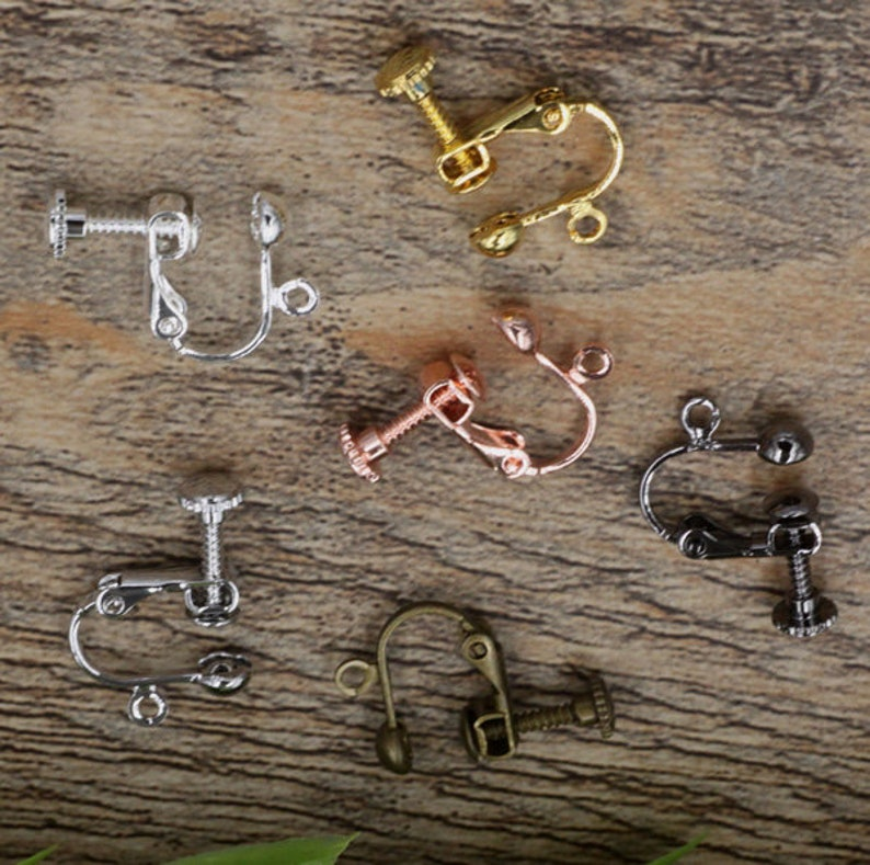 Solid Raw Brass Earring Clip-on Screwback Open Loop Adjustable Earring Parts Jewelry Making Findings Supplies Gold Silver Metal Components