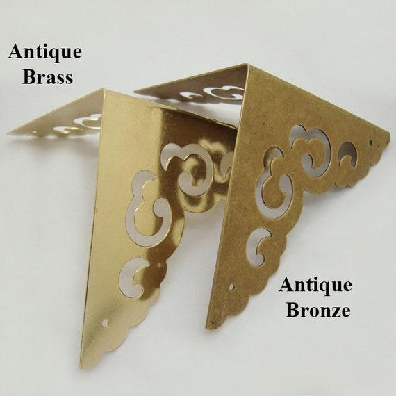 4Pcs vintage de meubles en métal Boîte à Bijoux Bois Case Corner Brackets Protecteurs