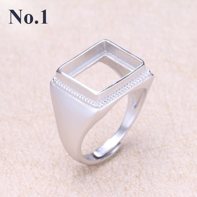 Sterling Silver Adjustable Ring Square Setting 12 14 mm 12 916 925 Antique Boho Vintage Jewelry Rings Bases Gemstone Stone Cabochon Bulk