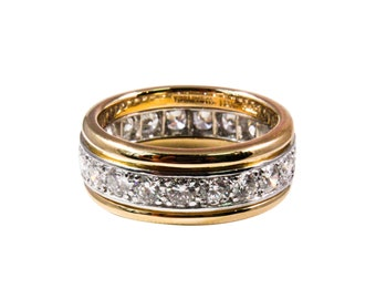 3910e1442 Tiffany & Co. 18k Yellow Gold and Platinum Diamond Band, Vintage Ring,  Vintage Jewelry, Estate Ring, Estate Jewelry
