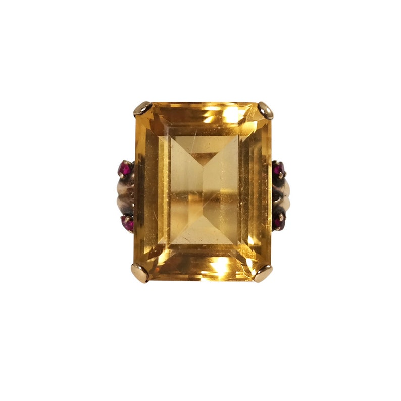 4592332b6ea13 Retro 14k yellow Gold Citrine and Ruby Ring, Vintage Ring, Vintage Jewelry,  Estate Ring, Estate Jewelry, Cocktail Ring