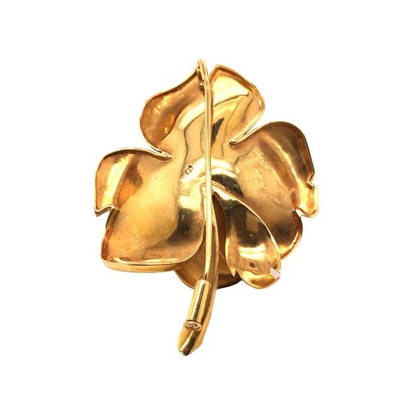 18k Yellow Gold Rose Brooch - image 2