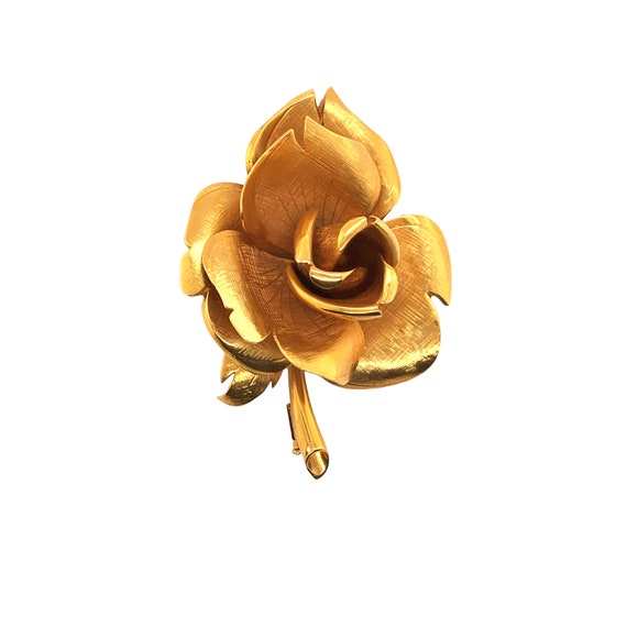 18k Yellow Gold Rose Brooch