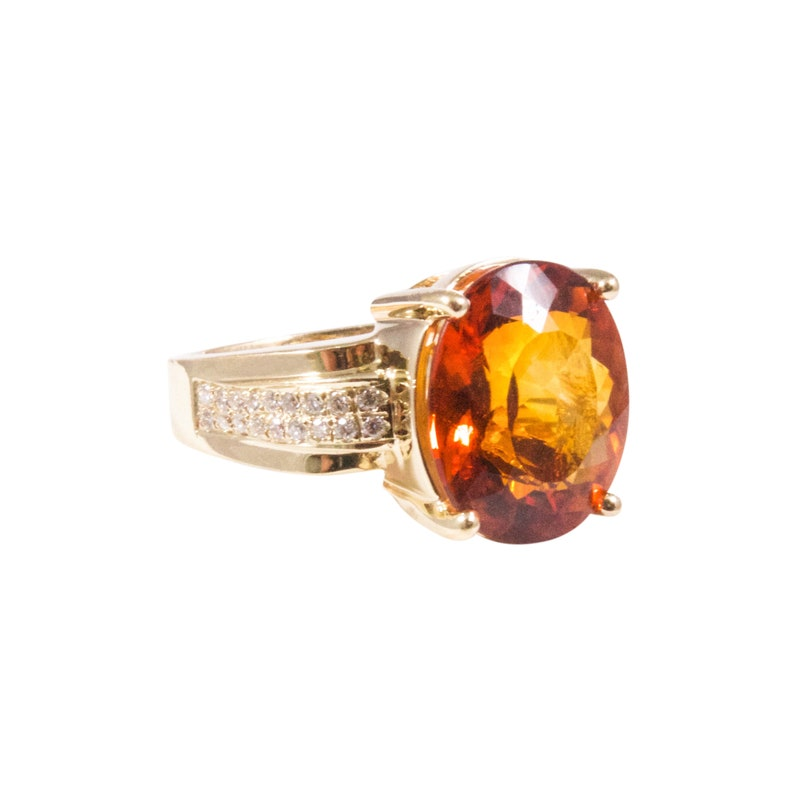 8f2ed02dbd583 14k Yellow Gold Madeira Citrine and Diamond Ring, Estate Jewelry, Estate  Ring, Vintage Jewelry, Vintage Ring