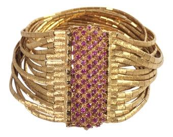 18K Yellow Gold Rubt Multi-Strand Bracelet