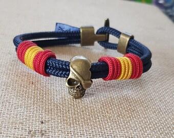 Nautical bracelet, nautical bracelet, skull bracelet, Spanish flag bracelet, Spanish flag
