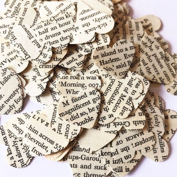 smashbooks table top confetti 250 James Bond vintage confetti from live and let die confetti hearts card making party wedding