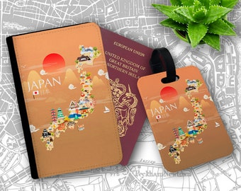 Japan Tourist Buildings Passport Holder Flip Cover Case And Luggage Tag