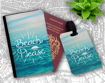 Beach Please Parody Funny Quote Passport Holder Flip Cover Case And Luggage Tag