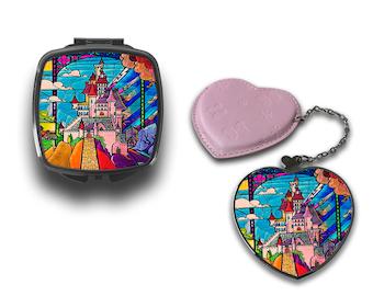 Disney Stained Glass Fairy Tale Castle Compact Makeup Handbag Mirror CM124