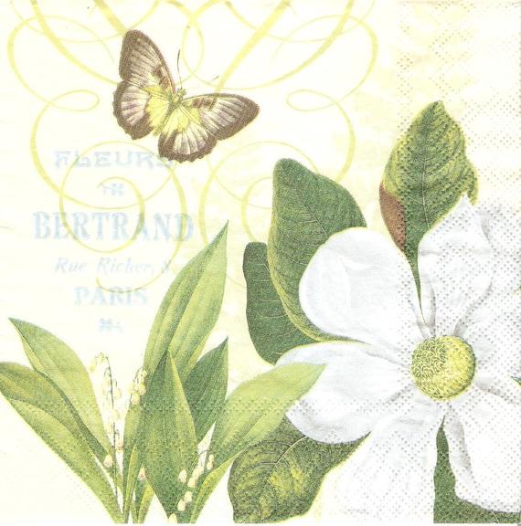 4 Paper Napkins For Decoupage Magnolia Fleurs Decoupage Etsy