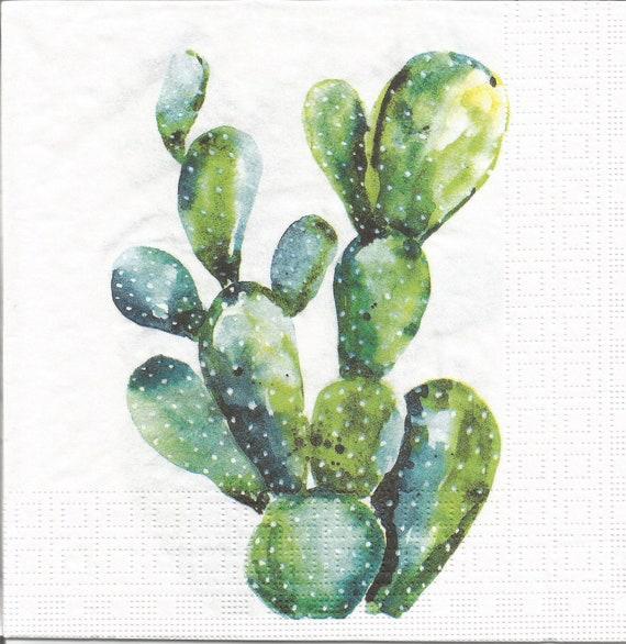 Cacti Paper Napkins Set Of 4 Cactus Decoupage Napkins