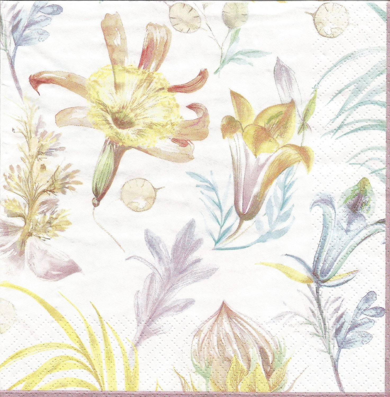 Flowers Decoupage Paper Napkins 4 Floral Napkins For Etsy