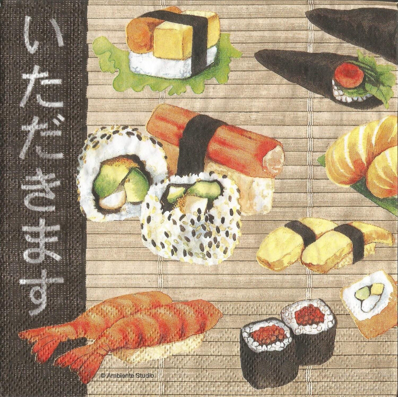 4 Sushi Decoupage Paper Napkins Japanese Food Napkins For