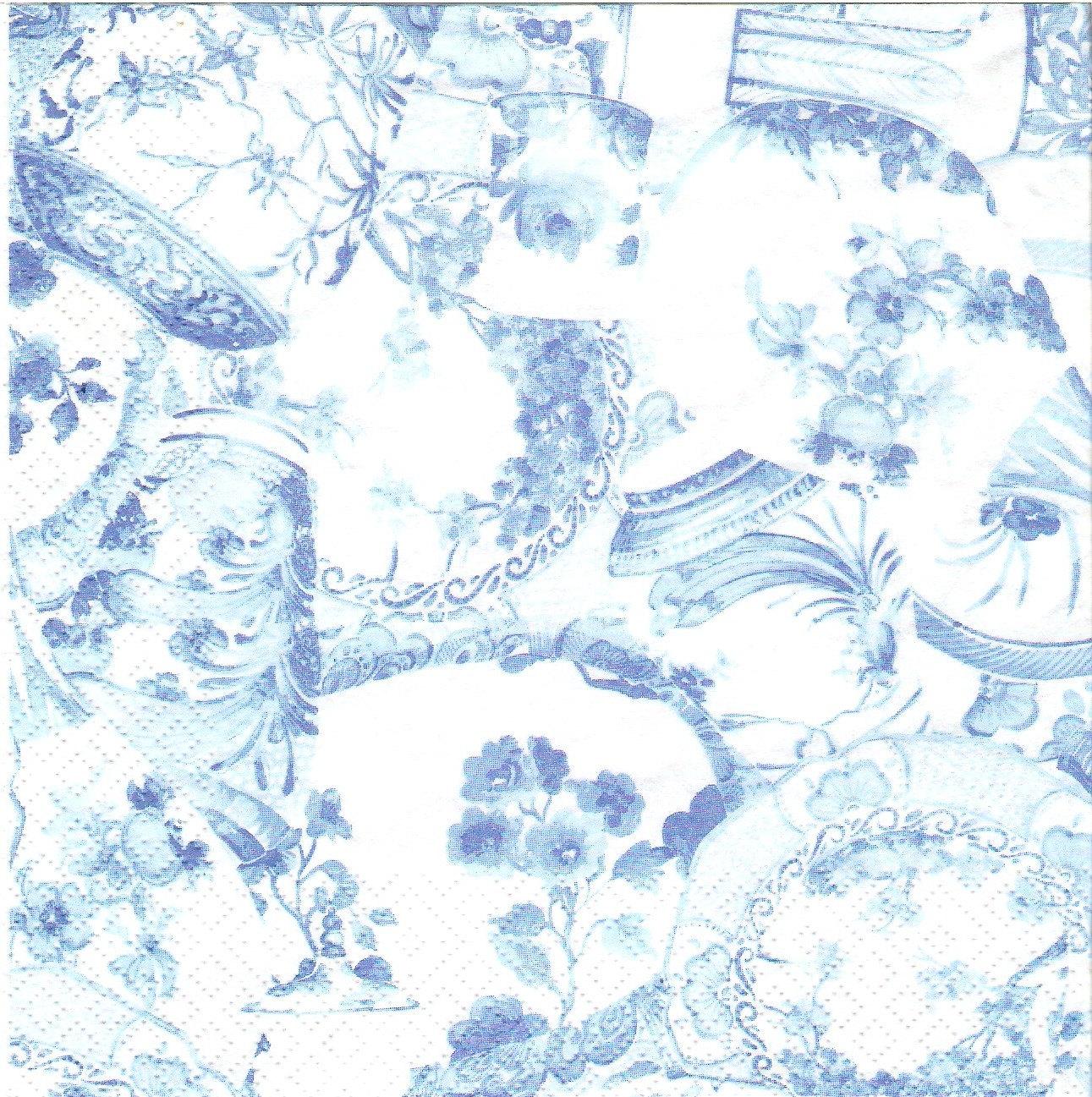 4 Blue Floral Pattern Decoupage Paper Napkins G032 Etsy
