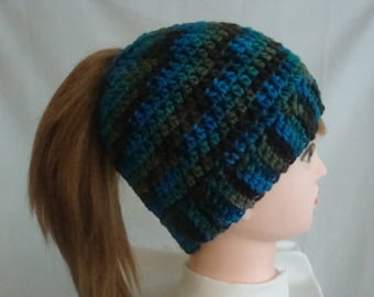 Messy Bun Hat, Bun Hat, Ponytail Hat, Turquoise Bun Hat, Turquoise Messy Bun Hat, Turquoise Ponytail Hat, Brown Bun Hat, Brown Ponytail Hat