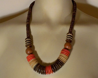 Vintage Chunky Necklace * U3423 1980's 80's Ethnic Tribal Jewelry
