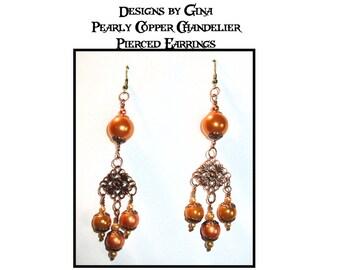 Pearly Copper Chandelier Pierced Earrings DG0036E1  Handmade Original Designs by Gina Dangle Drop
