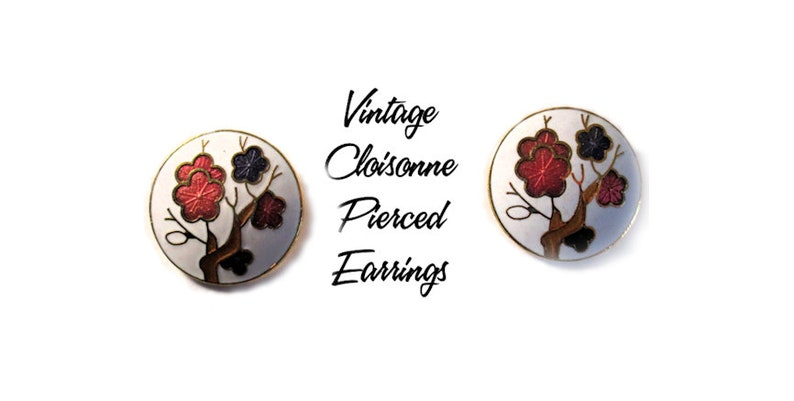 Vintage Floral Cloisonne Pierced Earrings  U5005 White with image 0