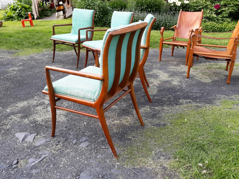 H Robsjohn Gibbings for WIddicomb T saber leg dining or lounge chairs set of 4 armchairs