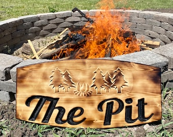 Fire pit sign, backyard signs, personalized gifts for dad, outdoor decor, burnt Wood signs, cottage sign outdoor, summer home sign, vacation