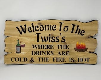 Welcome personalized oasis backyard sign, carved camping, RV trailer sign, camper or trailer, crafted in Canada