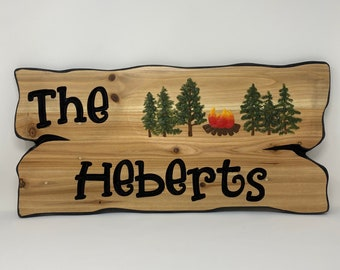 Family or last name campsite sign, wooden name sign for RV decor.  Welcome sign