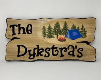 Welcome sign Camping in Canada Personalized family or last name campsite sign, wooden name sign for RV decor.