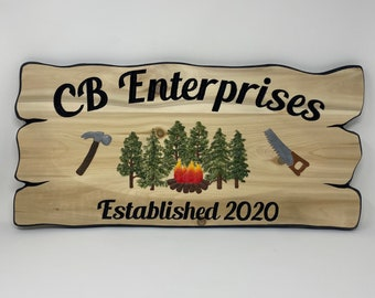 Personalized established cottage sign, rustic outdoor, lake house carved wood, trailer site sign, crafted in Canada