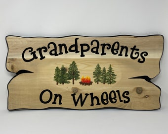 Full time campers campsite sign, personalized wooden name sign for RV decor.  Welcome sign