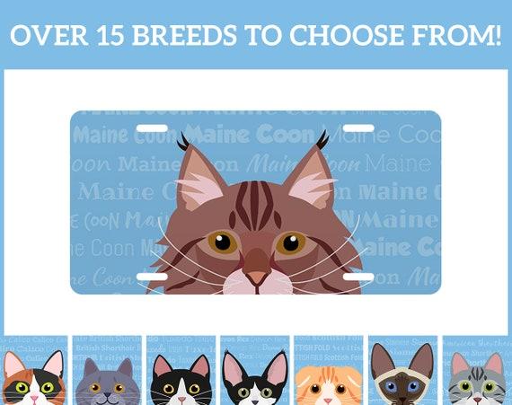 Plaque d'immatriculation spécifique adorable chat race grande ou Mini