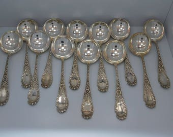 12 Sterling Silver Cream Soup Spoons