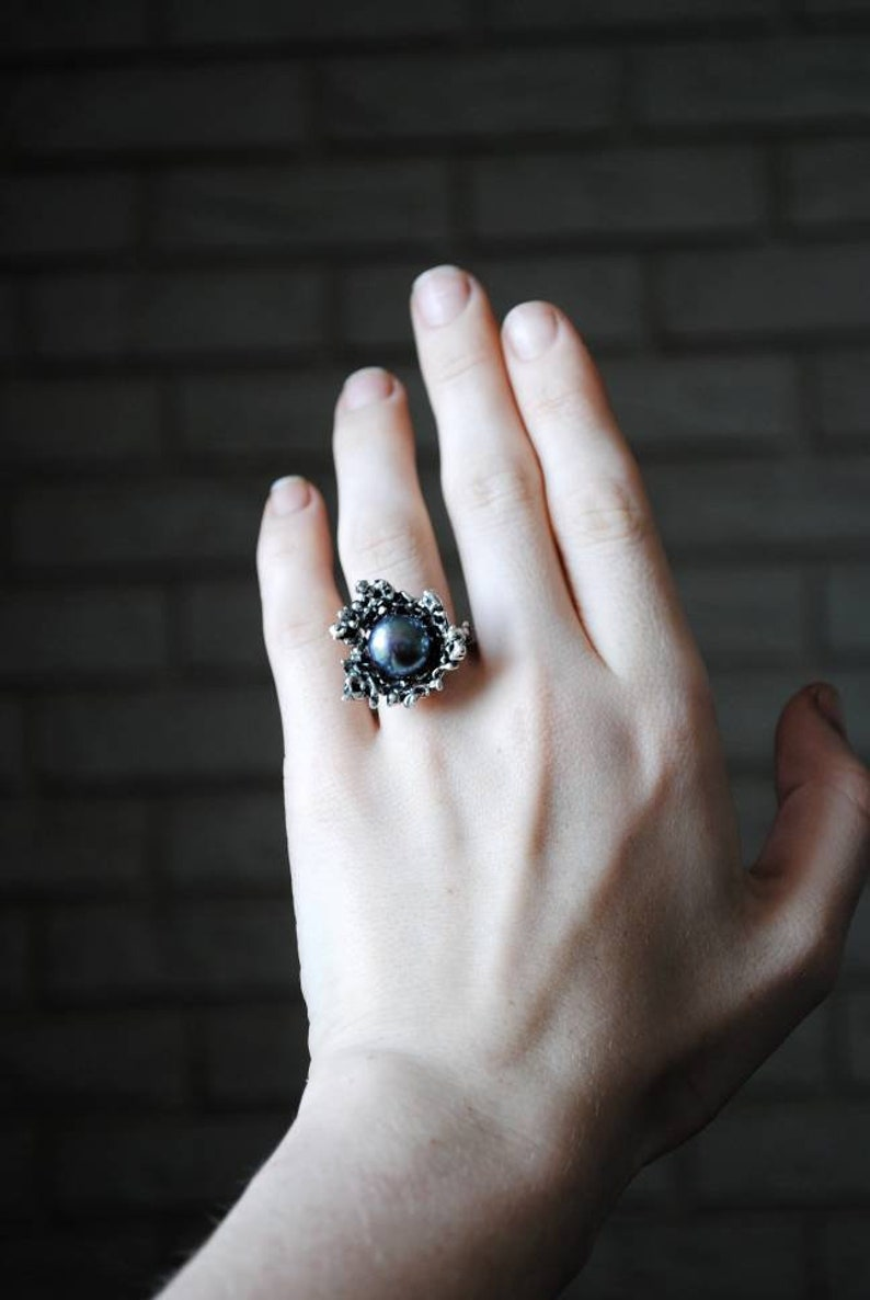Dark pear massive ring Coral pearl cocktail ring Contemporary ring Statement jewelry Avant-garde jewelry Sterling silver Nature shape