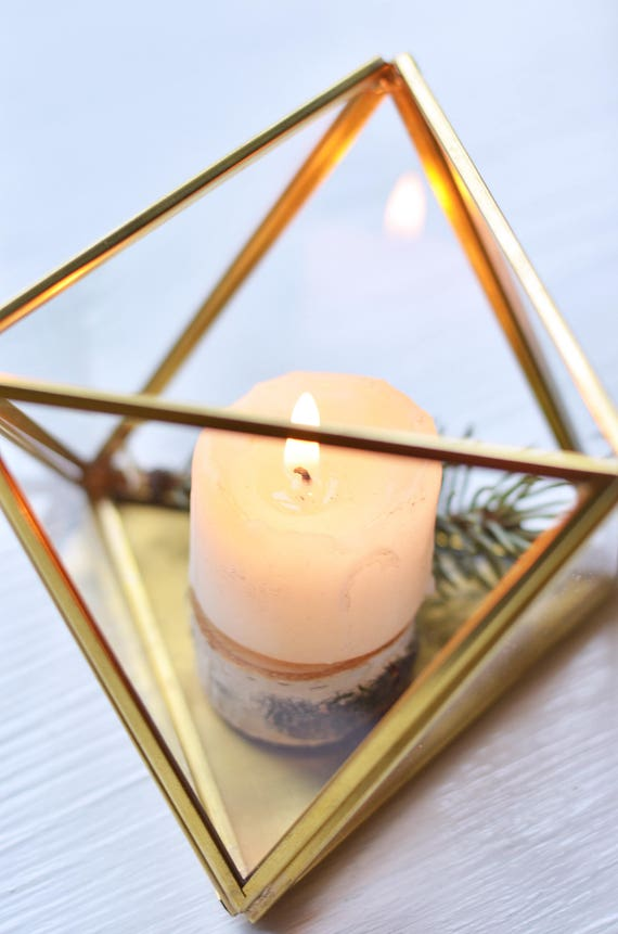 Small Glass Candle Holder Wedding Candle Holders Geometric Etsy