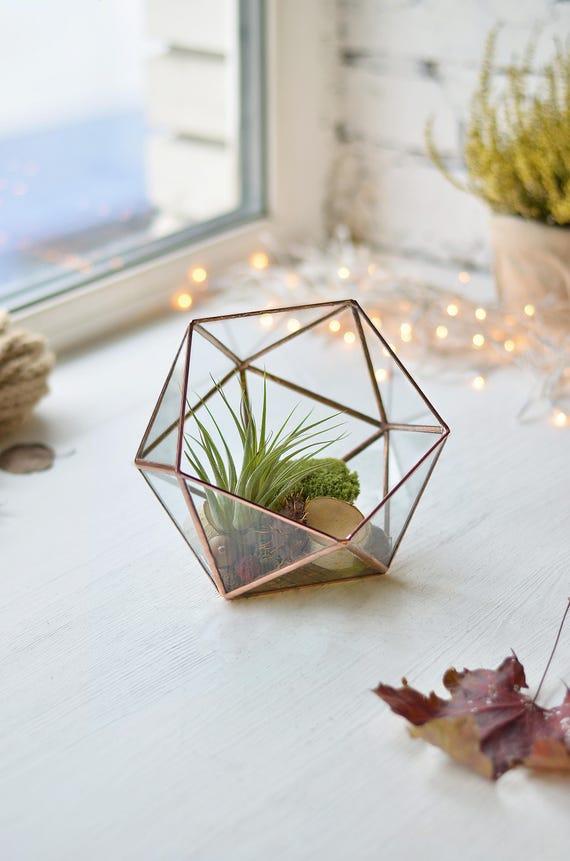 Geometric Terrarium Container Copper Terrarium Plants Glass Etsy