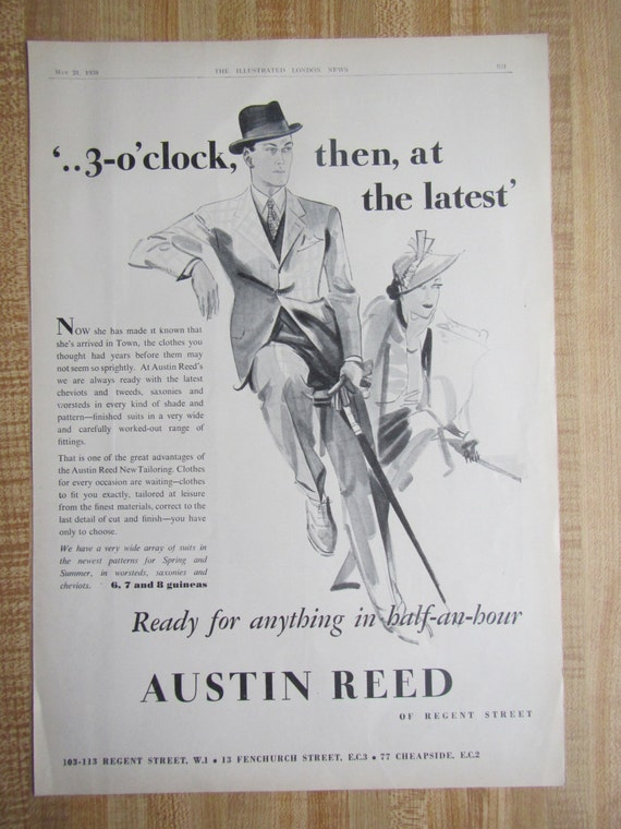 1938 Austin Reed Men S Tailoring With Castle Grim Tours Etsy